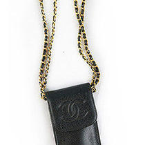 Stylish Chanel Vintage Black Caviar Leather Iphone Case Pochette Shoulder Bag Photo