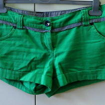 Stylish Green Cotton Shorts From Topshop - Size 10 Photo