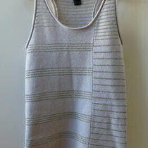 Stylish Grey With Silver Metallic Stripes Knit Top From Marc Jacobs - Size M Photo