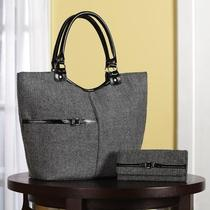 Stylish Herringbone Tote Style Purse & Wallet Set Photo