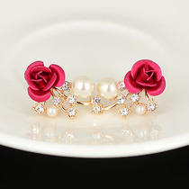 Stylish Rose Flower Pearl Swarovski Crystal 18k Gold Plated Lady Party Earrings Photo