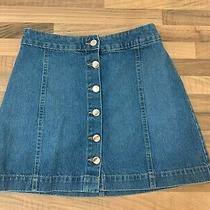 Stylish Used Blue Denim Button Skirt From h&m Size Uk 10 Excellent Condition Photo