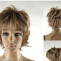 Stylish Western Lady Short Layered Natural Synthetic Blonde Hair Full Wig 9494 Photo
