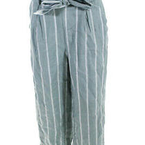 Suboo Womens High Rise Paper Bag Waist Wide Leg Pants Blue Striped Size Medium Photo