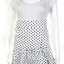 Suboo Womens Linen Polka Dot Ruffle Hem Skirt White Black Size 2 Ll19ll Photo