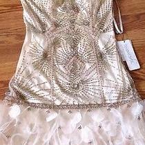 Sue Wong 1920's Blush Gatsby Beaded Feather Wedding Bridal Flapper Dress 8 Photo
