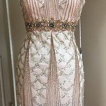 Sue Wong 1920's Gatsby Blush Beaded Sequin Wedding Bridal Cocktail Dress 8 Photo