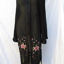 Sue Wong Black Fringe Piano Shawl Duster Jacket Sheer Evening Flapper L Photo