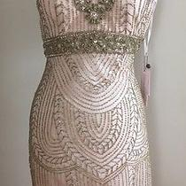 Sue Wong Blush Beaded Wedding Bridal Party Evening Cocktail Dress 2 Photo
