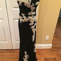 Sue Wong Long Black Vintage Dress With Appliques - Beautiful - 4 - Guc Photo