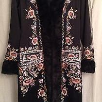 Sue Wong Nocturne Embroidered Floral Silk Evening Coat Wearable Art Oriental    Photo