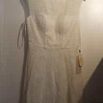 Sue Wong Nwt 419  6 White Eyelet Print Corset Floral Patterned Scoopneck Dress Photo
