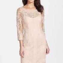 Sue Wong Ribbon Trim Illusion Bodice  Embroidered Lace Dress Blush Beige 6-8 Photo
