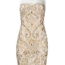 Sue Wong Sweetheart Neckline Mixed Dress Antique Champagne Gold 6 Photo