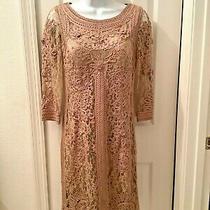 Sue Wong Womens Embroidered Sheath Dress Tan Beige 3/4 Sleeve Size 8  Photo
