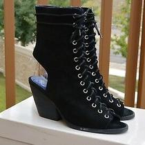 Suede Leather Open Toe Bootie by Jeffrey Campbell Black Size 7 Us Photo