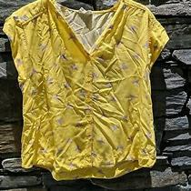 Sugar Hill Brighton Yellow Bird Patterned Shirt Top Size 14 Photo