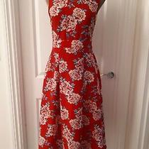Sugarhill Brighton Red Floral Cut Out Detail Floral Midi Dress Size 8 Photo