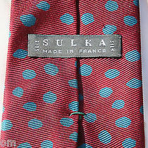 Sulka Silk Satin 150 Men's Solid Burgandy Tie No Box No Bag Photo