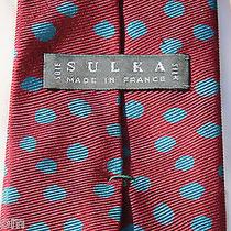 Sulka Silk Satin 150 Men's Solid Burgandy Tie No Box No Bag Photo