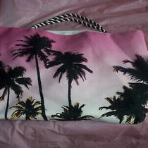 Summer Beach Bag - Tote - Pink  W/ Black Palm Trees - by Avon Euc Photo