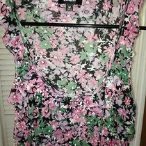 Summer Floral Ruffle Women's Blouse Sz M by Express Photo