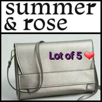 Summer & Rose Celine Vegan Leather Crossbody Purse/clutch Steel/silver Lot of 5 Photo