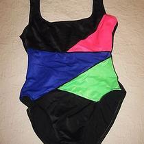 Sun Streak by Newport News Black W/bright Multi Color One Piece Swim Suit Size 8 Photo