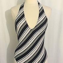 Sun Streak by Newport News Halter One-Piece Swimsuit Size 12 Large Black Stripe Photo