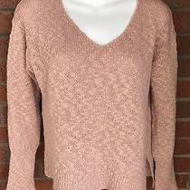 Sundance Catalog Sweater Shirt Blush Pink v-Neck Pull on Cotton Boucle Boxy Smal Photo