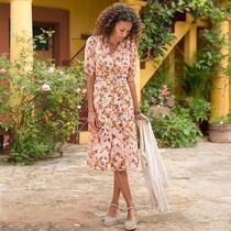 Sundance Retro Sonora Bloom 1940s Floral Dress Peach Blush Pink 6 S M New Nwt Photo