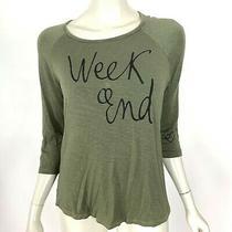 Sundry Olive Green Weekend Heart Sleeve Tee Shirt Stretch Top Women 2 Medium Photo
