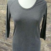 Sundry Washed Gray Scoopneck 3/4 Sleeve Tee Xs S Photo