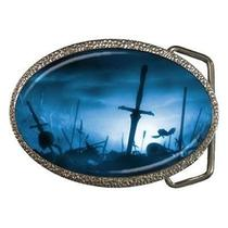 Sunken Pirate Ships at Night Goth Fantasy Belt Buckle Photo