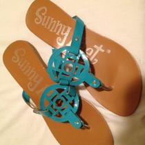 Sunny Feet Women's Teal Blue Sandal Perfect for Summer Size 10 / 40 Thong Flat Photo