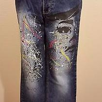 Super Cool Express Dark Denim Paint Splatter Face Straight Leg Jeans 5/6 Photo
