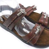 Super Cute Brown Minnetonka Leather Western Sandals W/ Flowers - Sz 5m Comfort Photo