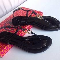 Super Cute Nib Tory Burch Carrick Black Patent Thong Sandals Shoes Sz 6.5 Photo