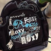 Super Cute Roxy Mini Backpack 11x5x15 Black Roxy Heart Logo Pattern  Photo