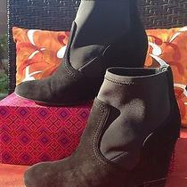 Super Hot Tory Burch Suede Wedge Boots Booties in Black Size 8 - Hot Photo