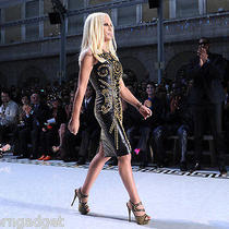 Super Sexy Versace for h&m Women Gold Studded Leather Dress Size 2 Photo