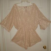 Super Sexy Victoria's Secret Romper Sleepwear in Blush With Gold Shimmer Trim Xl Photo