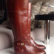 Super Trendy New Tory Burch Brita Sienna Genuine Leather Riding Boots Size 6 Photo