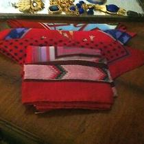 Super  Vtg Lot 116 - 4 Red Tone Scarves W Oscar De La Renta Anne Klein  & More Photo