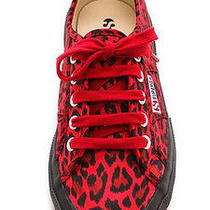 Superga 2750 Satin Leopard Sneakers - Red Leopard Photo