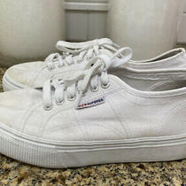 Superga 39.5 Eu 8.5 Us White Cotu Classic Canvas Crepe Platform Sneakers Shoes Photo