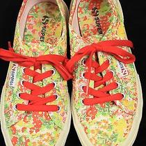 Superga Cotu Fantasy Sneaker in Garden Red Lace Up Tennis Shoes Womens 7 Floral Photo