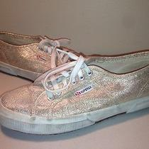 Superga Gold Sneakers Shoes Gum Sole Women's Us 10 Eu 41.5 2750 Lamew Worn 1x Photo