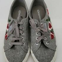 Superga Gray With Burgandy Floral Embriodered Detail Sneakers. Size 38. Photo