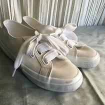 Superga Off White Suede Leather Sneakers 39 1/2 White Soles Ties 1 1/8 Platform  Photo